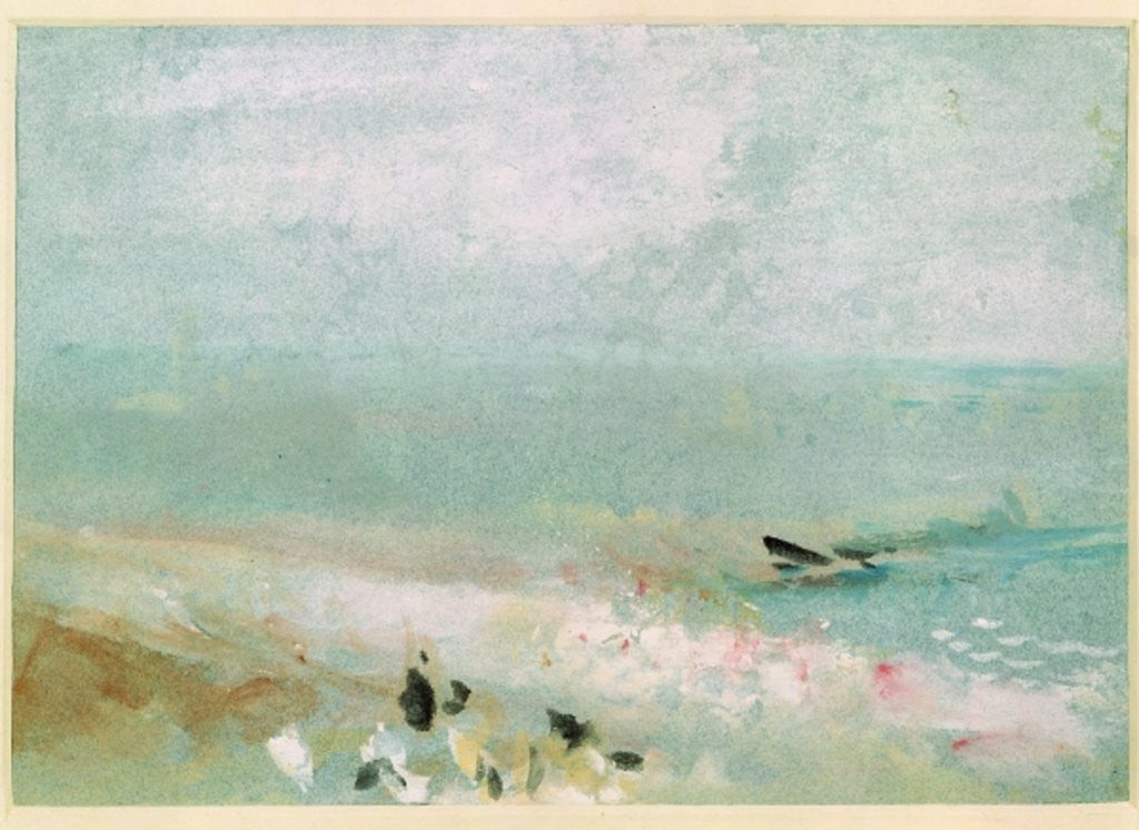 Detail of Beach with figures and a jetty by Joseph Mallord William Turner