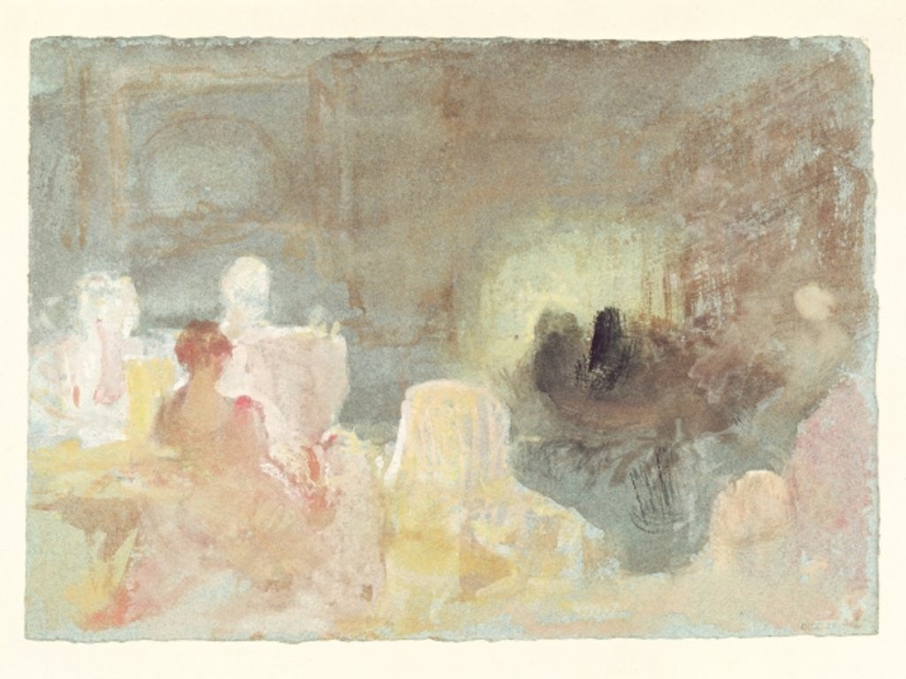Detail of Interior at Petworth with a seated woman by Joseph Mallord William Turner