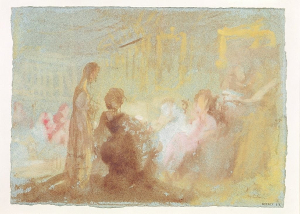 Detail of Interior at Petworth House with people in conversation by Joseph Mallord William Turner