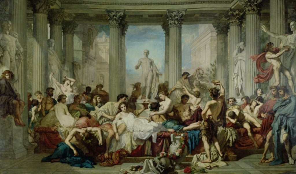 Detail of The Romans of the Decadence by Thomas Couture