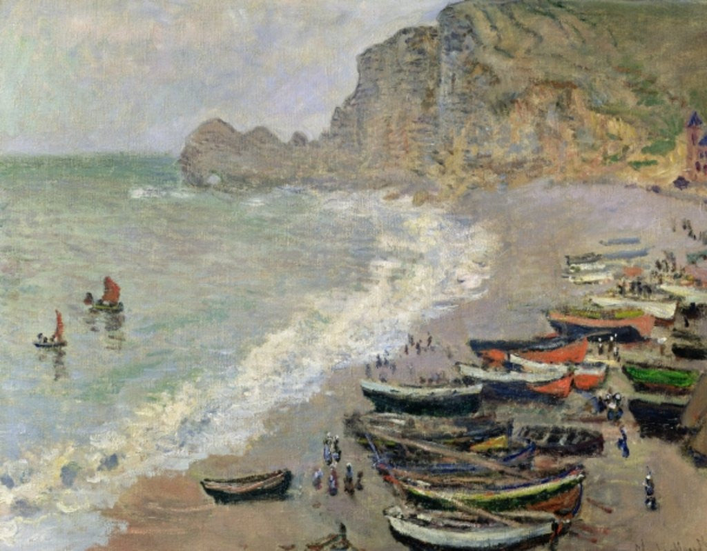 Detail of Etretat, beach and the Porte d'Amont by Claude Monet