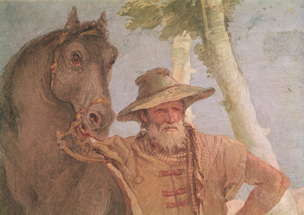 Detail of Detail of the horseman from Angelica Nursing the Wounded Medoro by Giovanni Battista Tiepolo