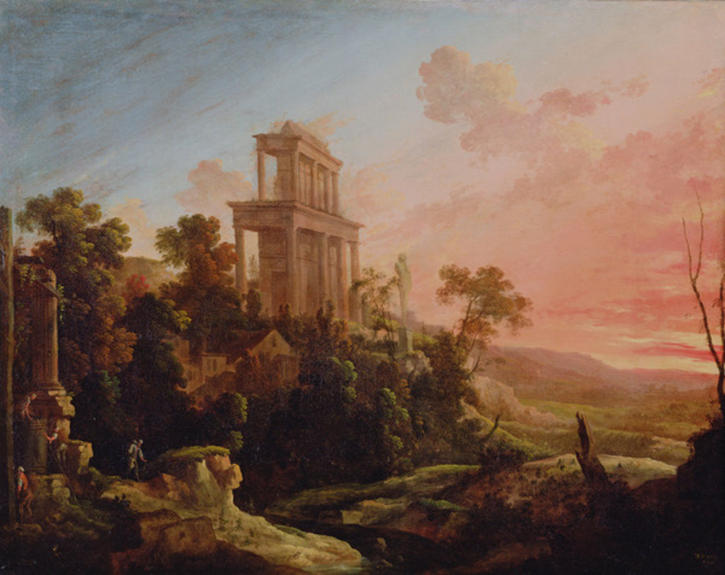Detail of Landscape with Setting Sun by Antoine Pierre the Younger Patel