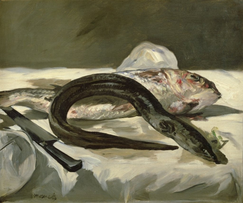 Detail of Eel and Red Mullet by Edouard Manet