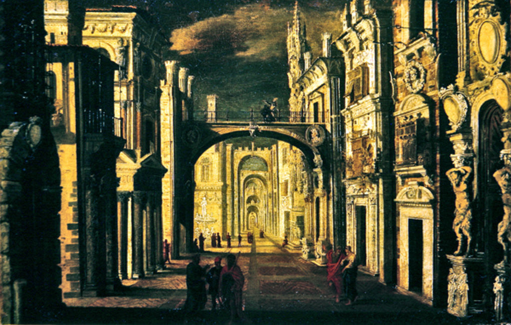 Detail of Architectural perspective by Francois de Nome