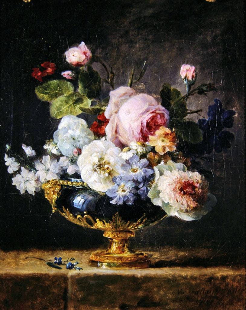 Detail of Flowers in a blue vase by Anne Vallayer-Coster