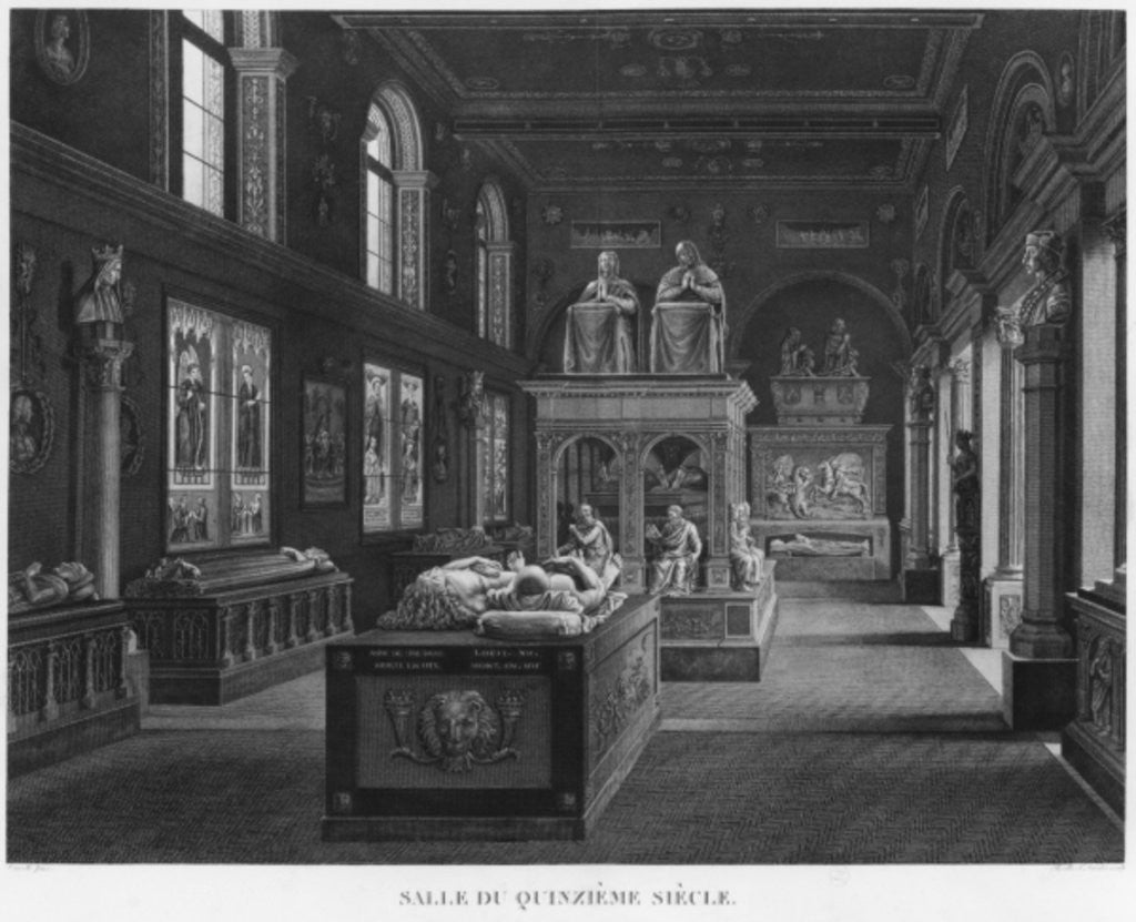 Detail of The 15th century room, Musee des Monuments Francais, Paris by engraved by Jean Baptiste Baptiste Reville and Lavalee
