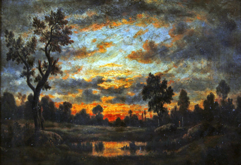 Detail of Landscape at sunset by Theodore Rousseau
