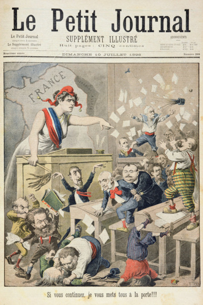 Detail of Title page depicting a ruckus in the House of Deputies by Henri Meyer