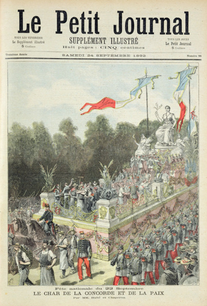 Detail of Title page depicting the national holiday on 22nd September celebrating the centennial of the proclamation of the Republic by Henri Meyer