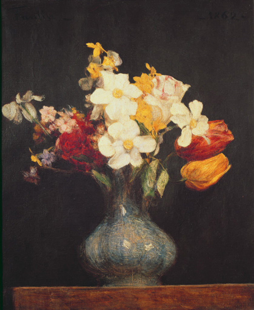 Detail of Narcissi and Tulips by Ignace Henri Jean Fantin-Latour