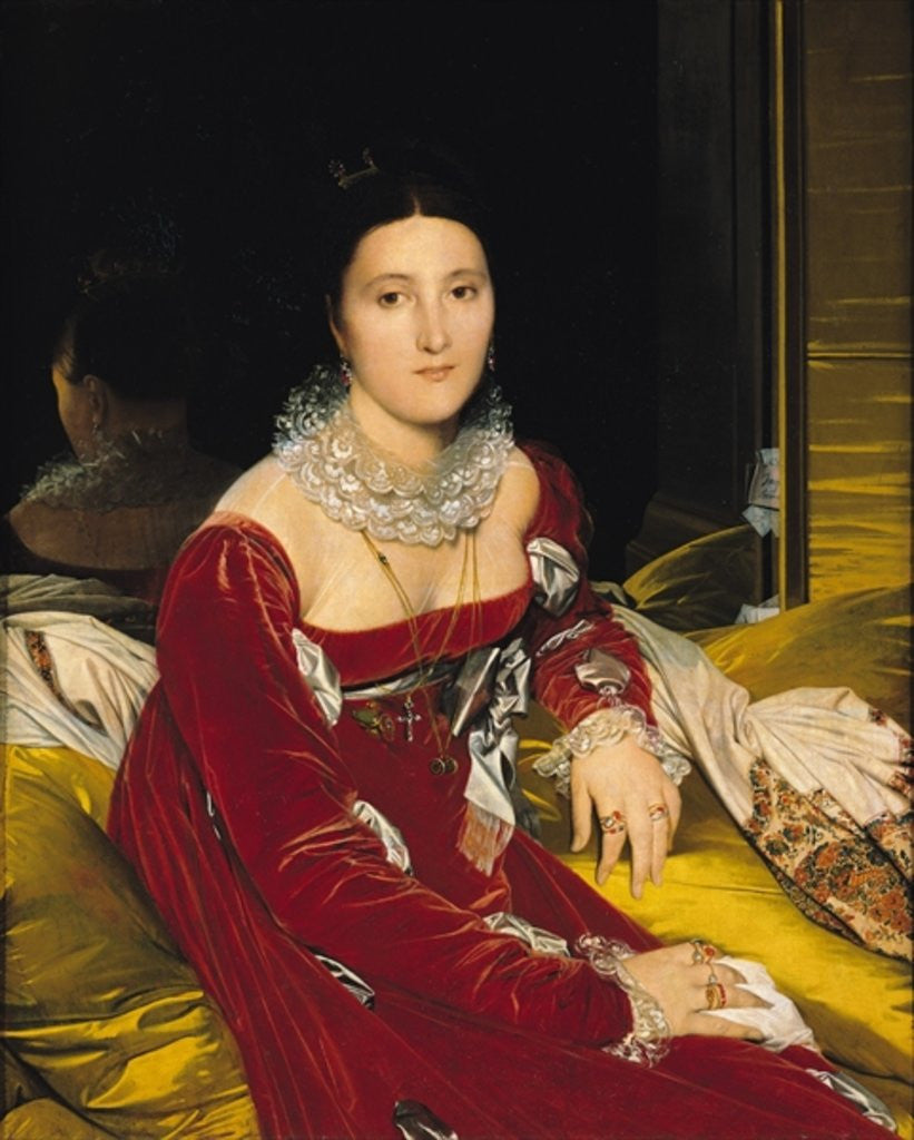 Detail of Madame de Senonnes by Jean Auguste Dominique Ingres