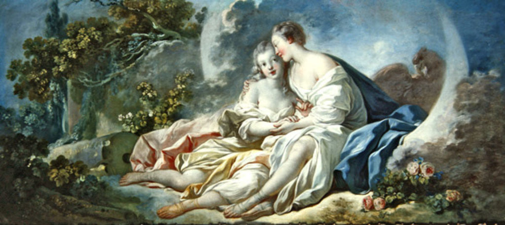 Detail of Jupiter disguised as Diana tries to seduce Callisto by Jean-Honore Fragonard