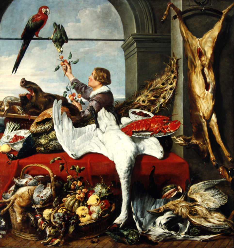 Detail of Interior of an office, or still life with game, poultry and fruit by Frans Snyders or Snijders