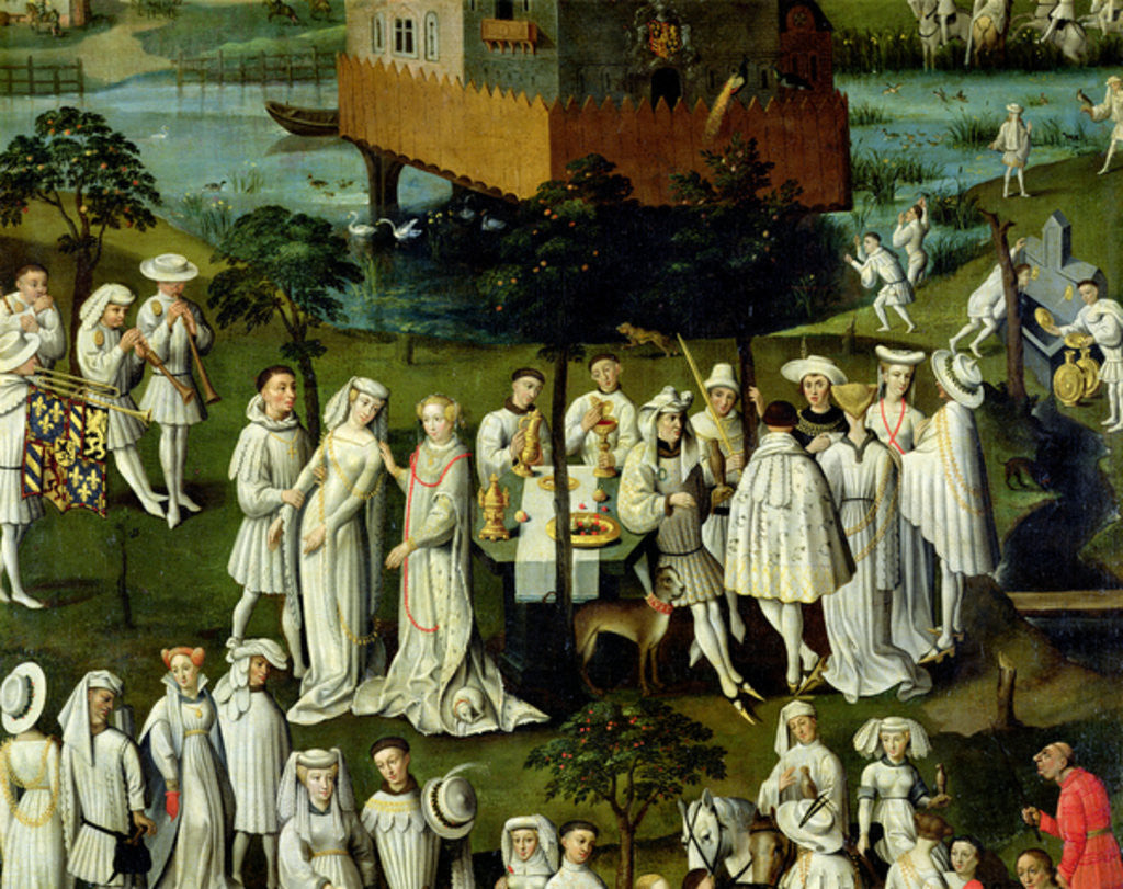 Detail of The Garden of Love at the Court of Philip the Good, in the Gardens of the Chateau de Hesdin in 1431 by French School