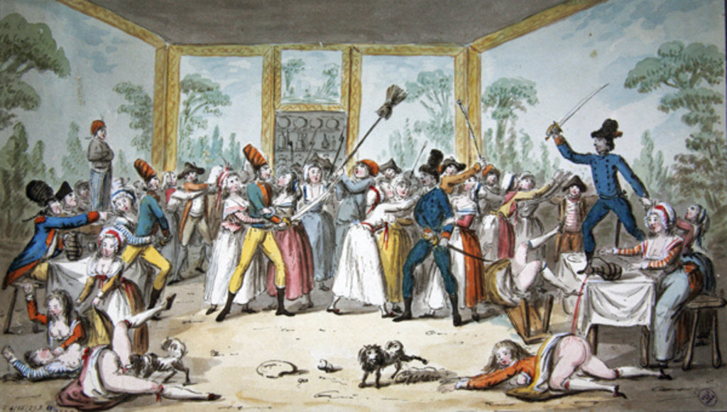 Detail of Riotous scene in a tavern during the period of the French Revolution by Etienne Bericourt