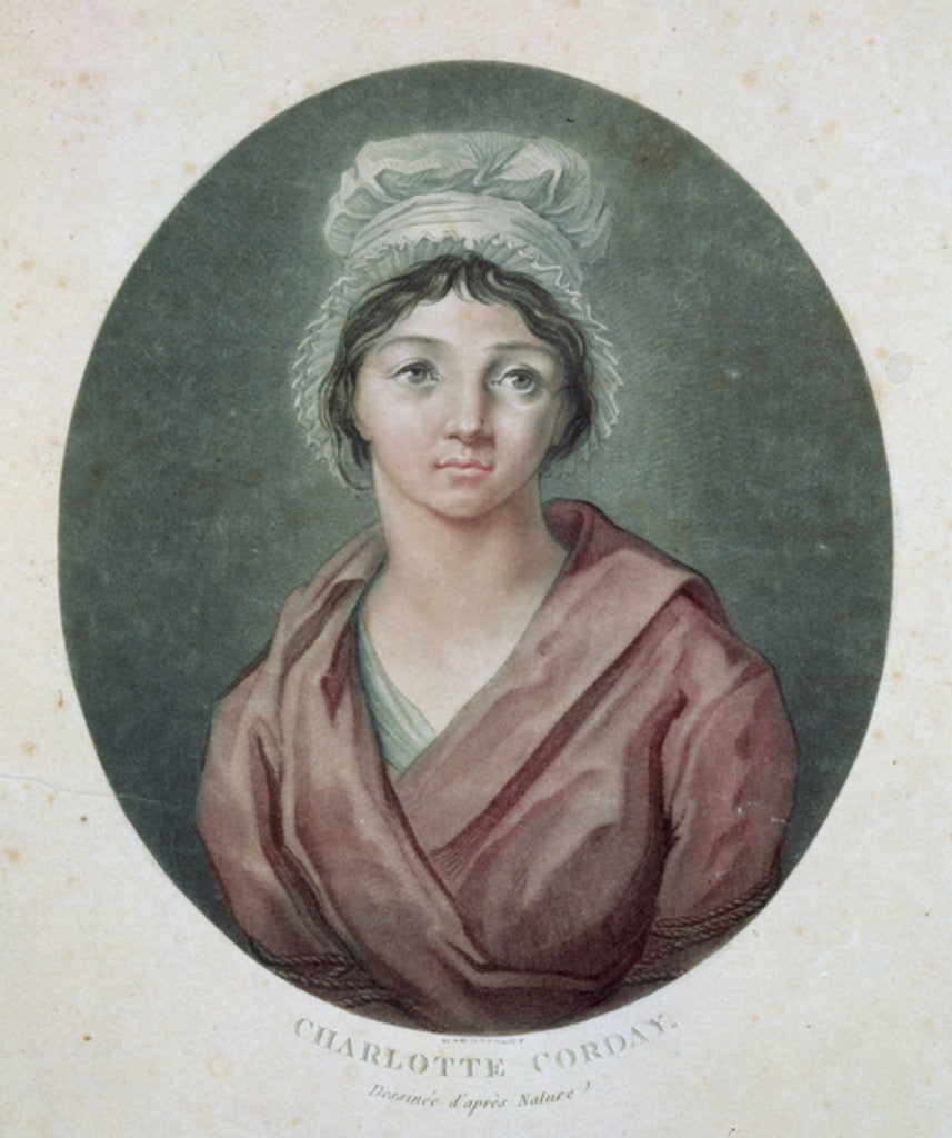 Detail of Portrait of Charlotte Corday by French School