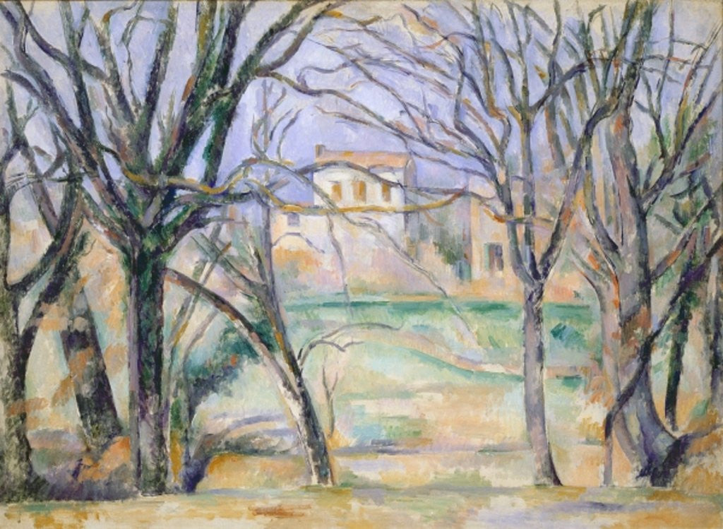 Detail of Trees and houses by Paul Cezanne