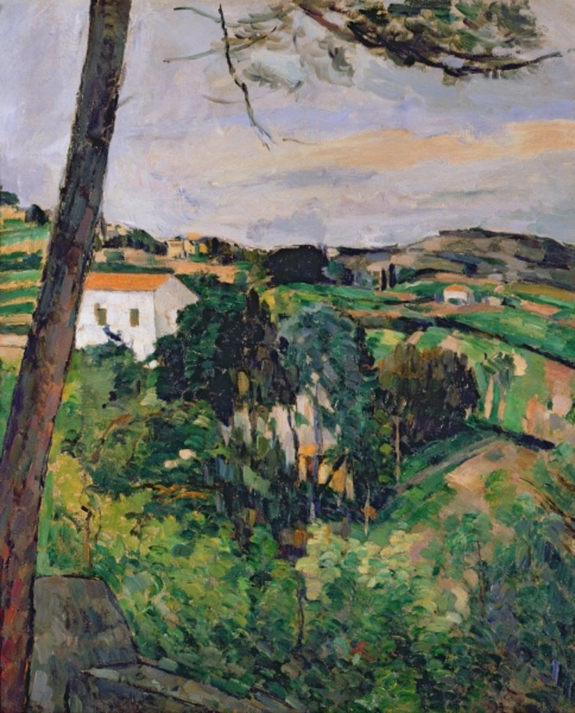 Detail of Landscape with red roof or The pine at the Estaque by Paul Cezanne
