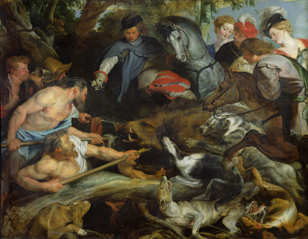 Detail of Hunting a Wild Boar by Peter Paul Rubens