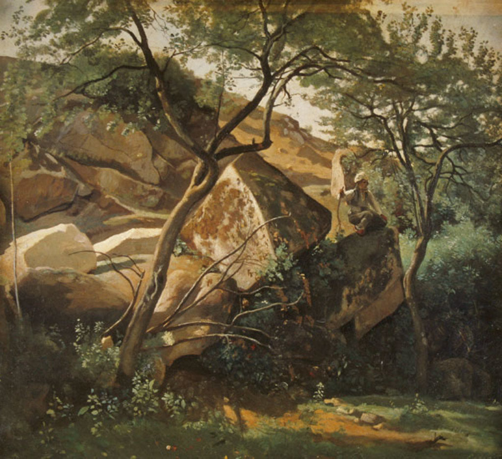 Detail of Rocks at Fontainebleau by Jean Baptiste Camille Corot