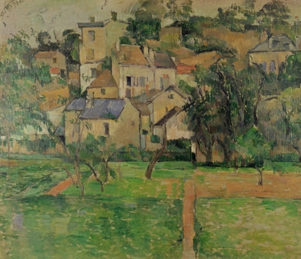 Detail of The Hermitage at Pontoise by Paul Cezanne