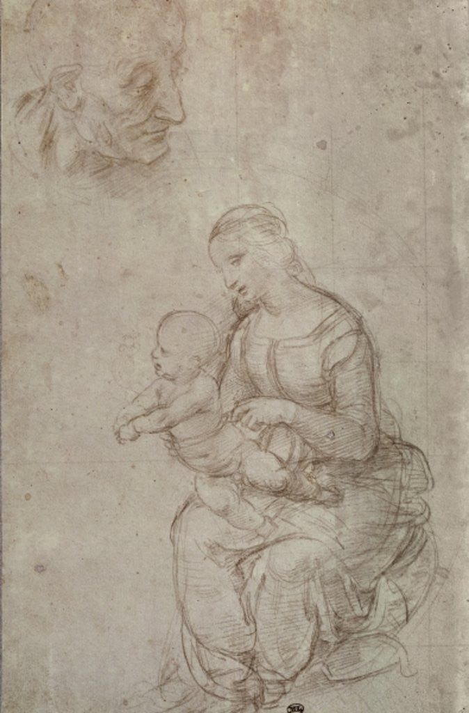 Detail of Madonna and child and head of an old man by Raphael