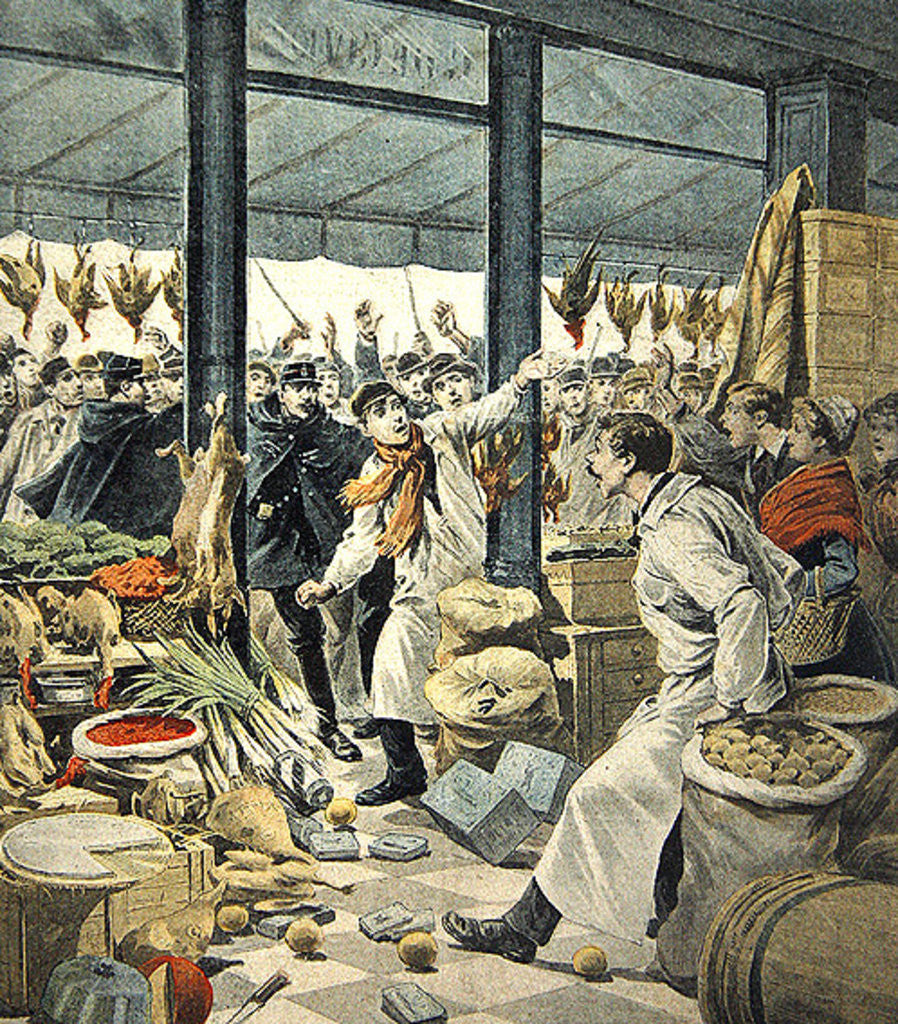 Detail of Strike of the grocers, a brawl by French School