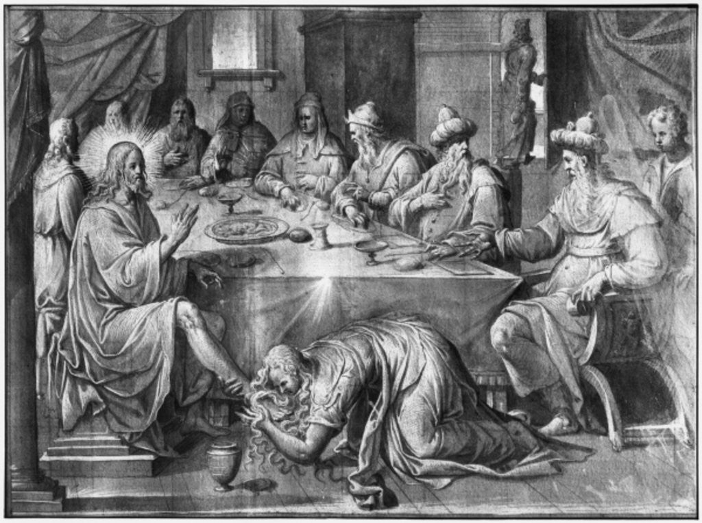 Detail of Life of Christ, the Meal at the House of Simon the Pharisee, preparatory study of tapestry cartoon for the Church Saint-Merri in Paris by Henri Lerambert