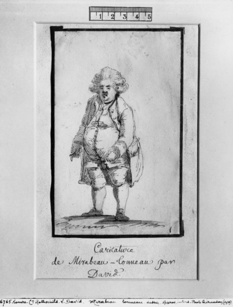 Detail of Caricature of Andre Boniface Louis of Riqueti, Viscount of Mirabeau, nicknamed Mirabeau-Tonneau by Jacques Louis David