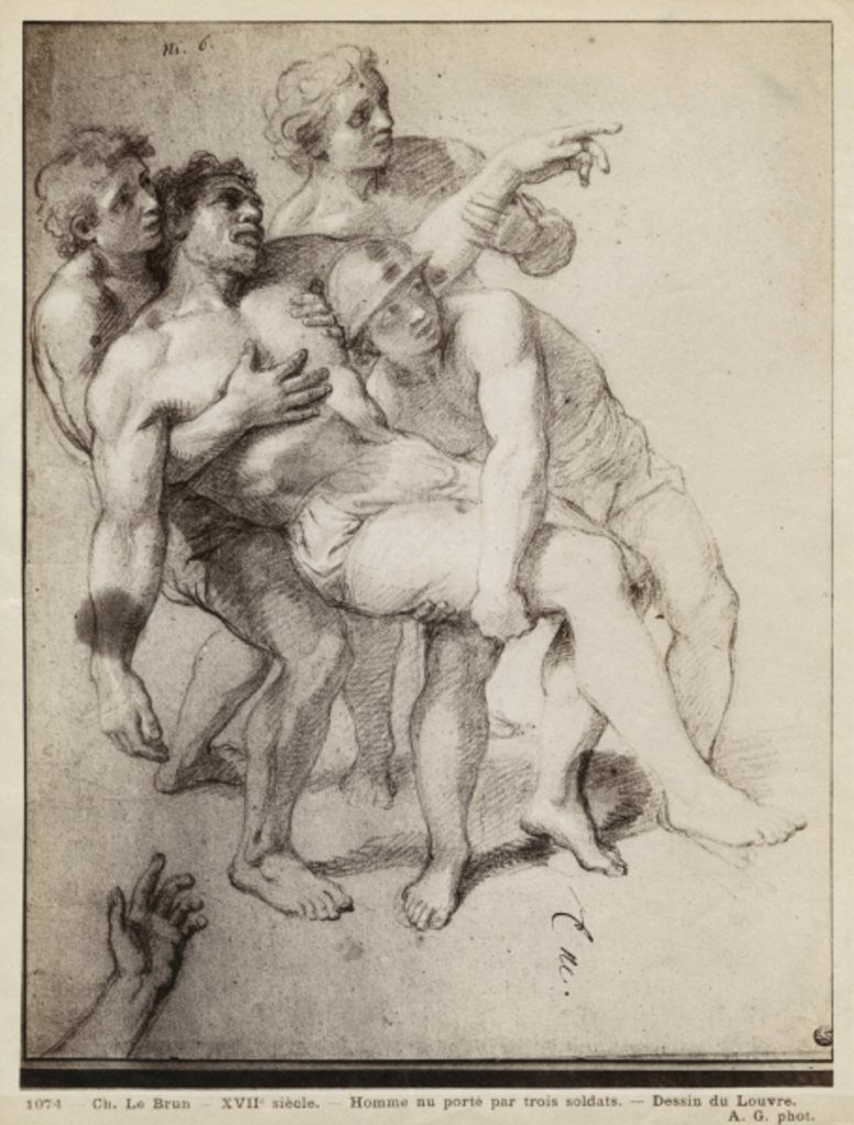 Detail of Half naked man supported by three men by Charles Le Brun