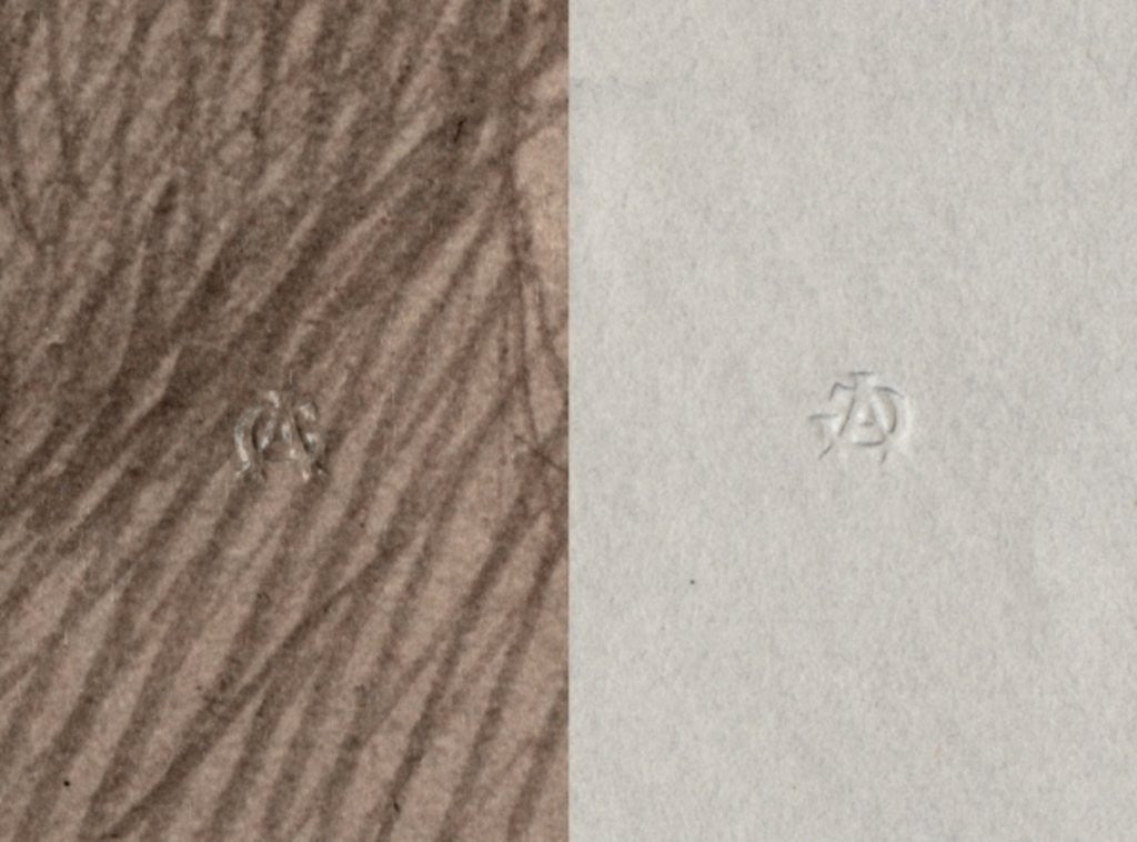Detail of Dry stamp of Adolphe Giraudon, A G, Recto and Verso by Adolphe Giraudon