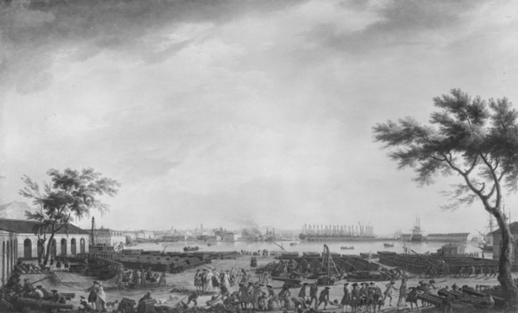 Detail of New Port and Arsenal of Toulon, seen from the artillery depot by Claude Joseph Vernet