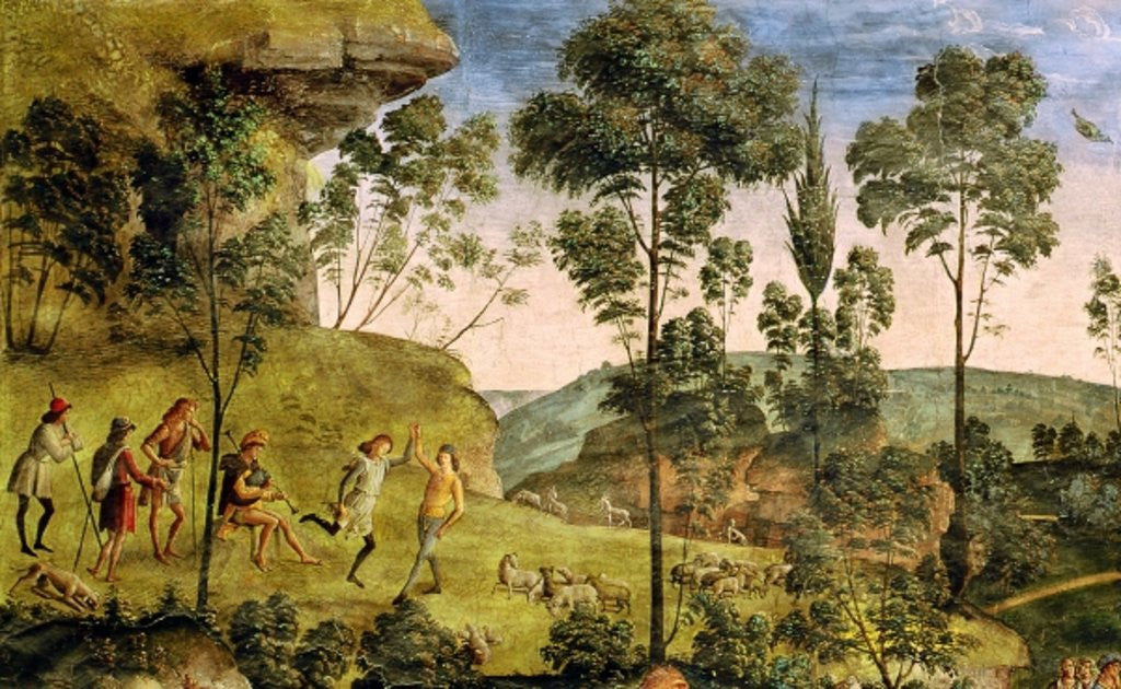 Detail of Goatherds and shepherds making music and dancing by Pietro Perugino