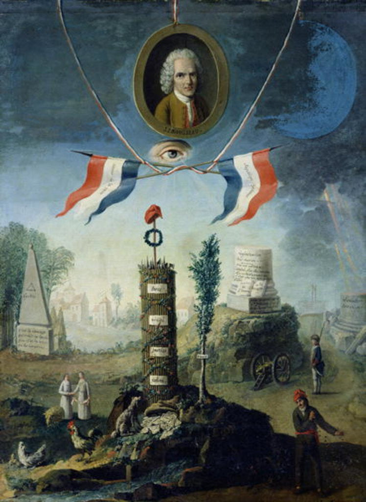 Detail of An Allegory of the Revolution with a portrait medallion of Jean-Jacques Rousseau by Nicolas Henri Jeaurat de Bertry