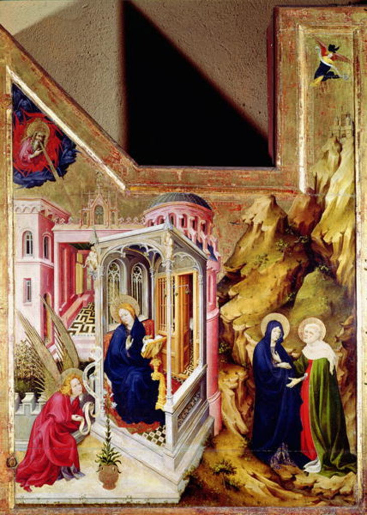 Altarpiece of the Chartreuse de Champmol, left hand side depicting the Annunciation and the Visitation by Melchoir Broederlam