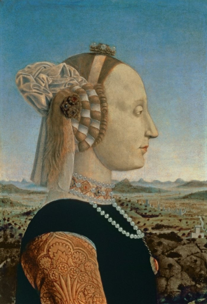 Detail of Battista Sforza, wife of Federigo da Montefeltro, Duke of Urbino by Piero della