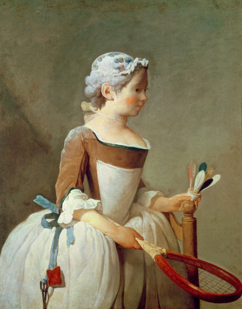 Detail of Girl with Racket and Shuttlecock by Jean-Baptiste Simeon Chardin