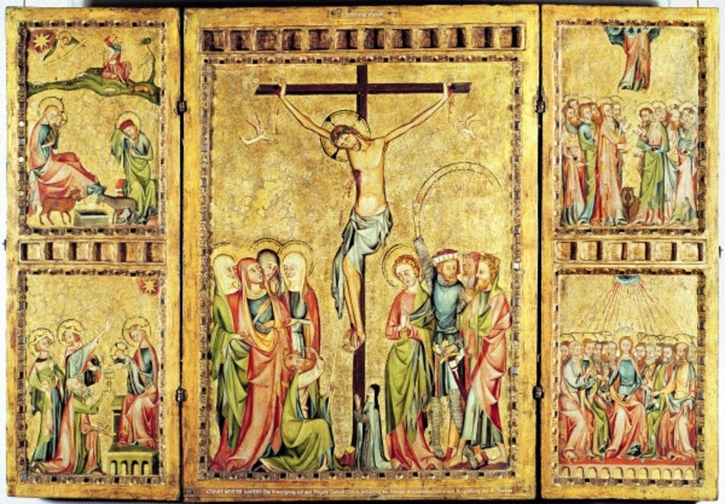 Altarpiece with the Crucifixion in the centre panel and scenes from the Life of Christ on the side panels by Master of Cologne