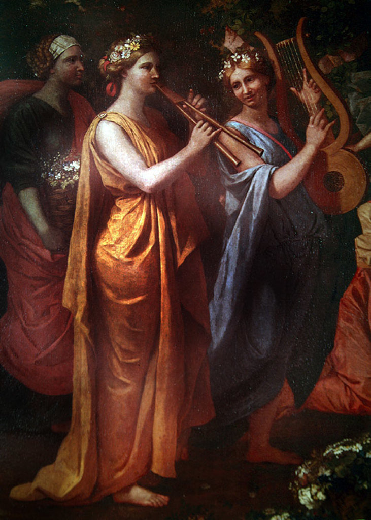 Detail of Hymenaios Disguised as a Woman During an Offering to Priapus, detail of the musicians by Nicolas Poussin