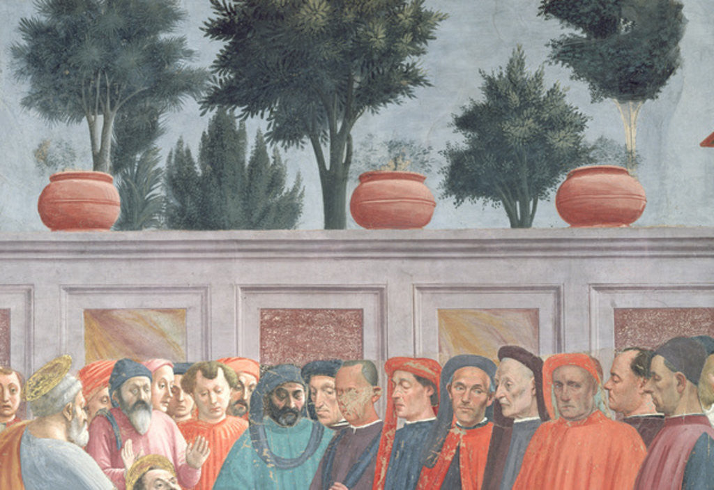 Detail of Heads of people below the background wall by T. & Lippi