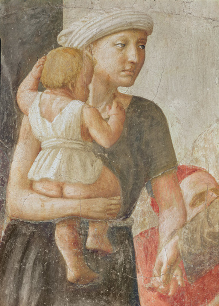 Detail of Detail of the woman and child by Tommaso Masaccio