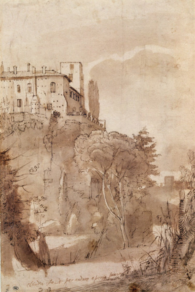 Detail of A road outside the walls of Rome by Claude Lorrain