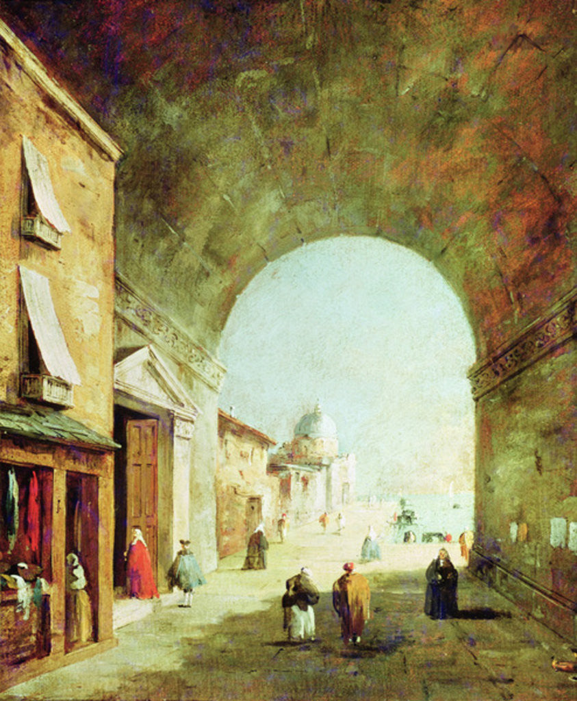 Detail of View of a Venetian street by Francesco Guardi