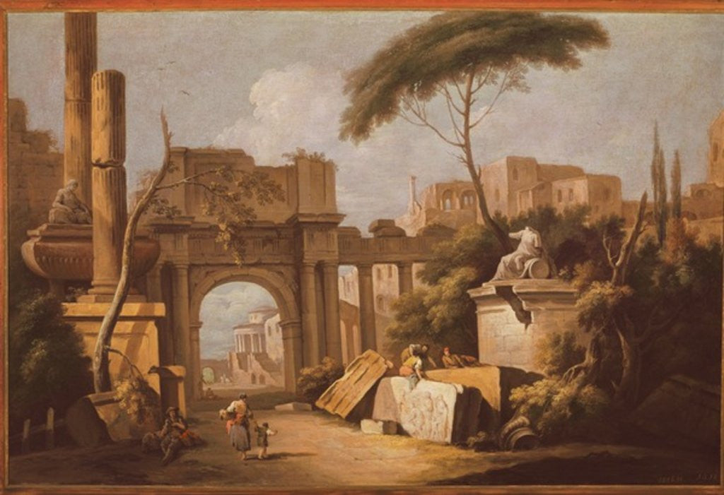 Detail of Ancient Ruins with a Great Arch and a Column by Giuseppe Zais