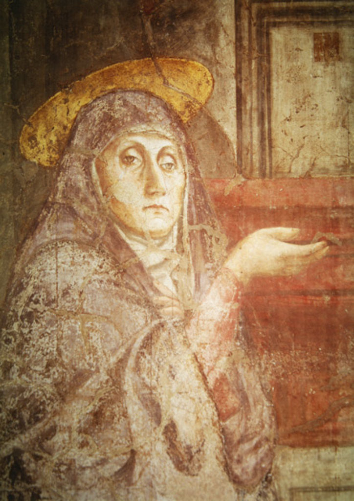 The Holy Trinity, detail of the head of the Virgin Mary by Tommaso Masaccio