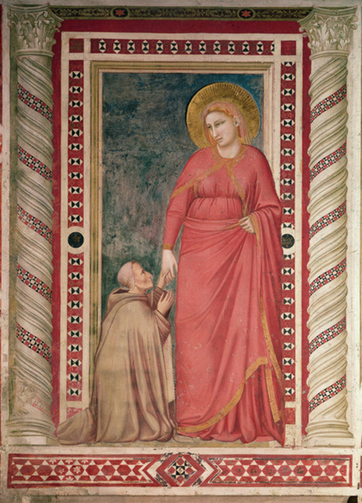 Detail of Bishop Pontano kneeling before St. Mary Magdalene, Magdalene Chapel by Giotto di Bondone