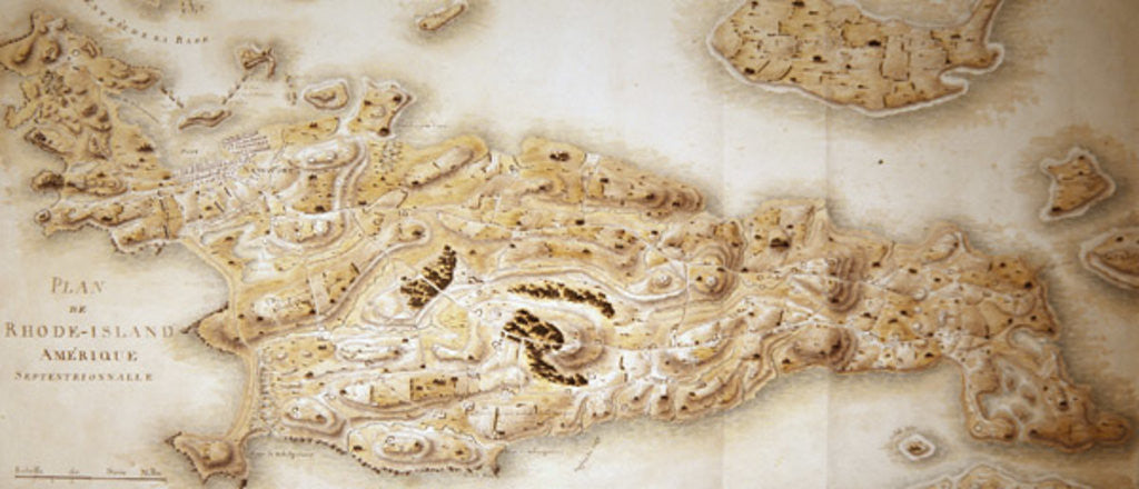 Detail of Map of Rhode Island by F. Dubourg