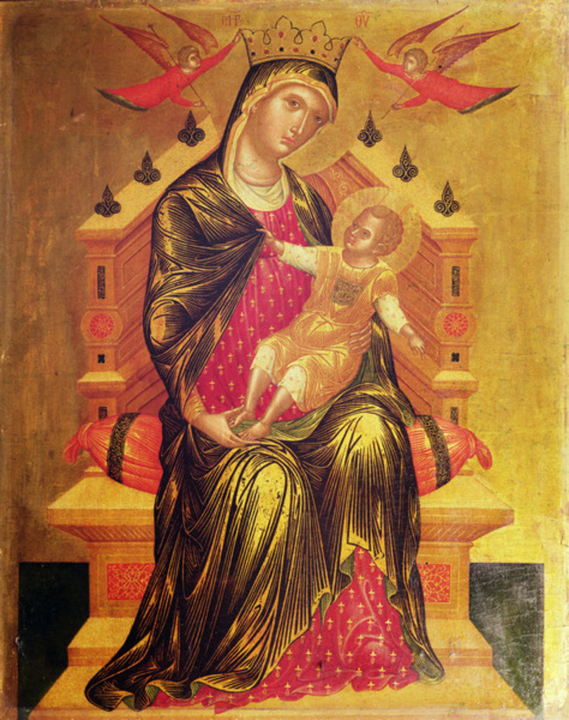 Madonna and Child enthroned with two angels by Byzantine