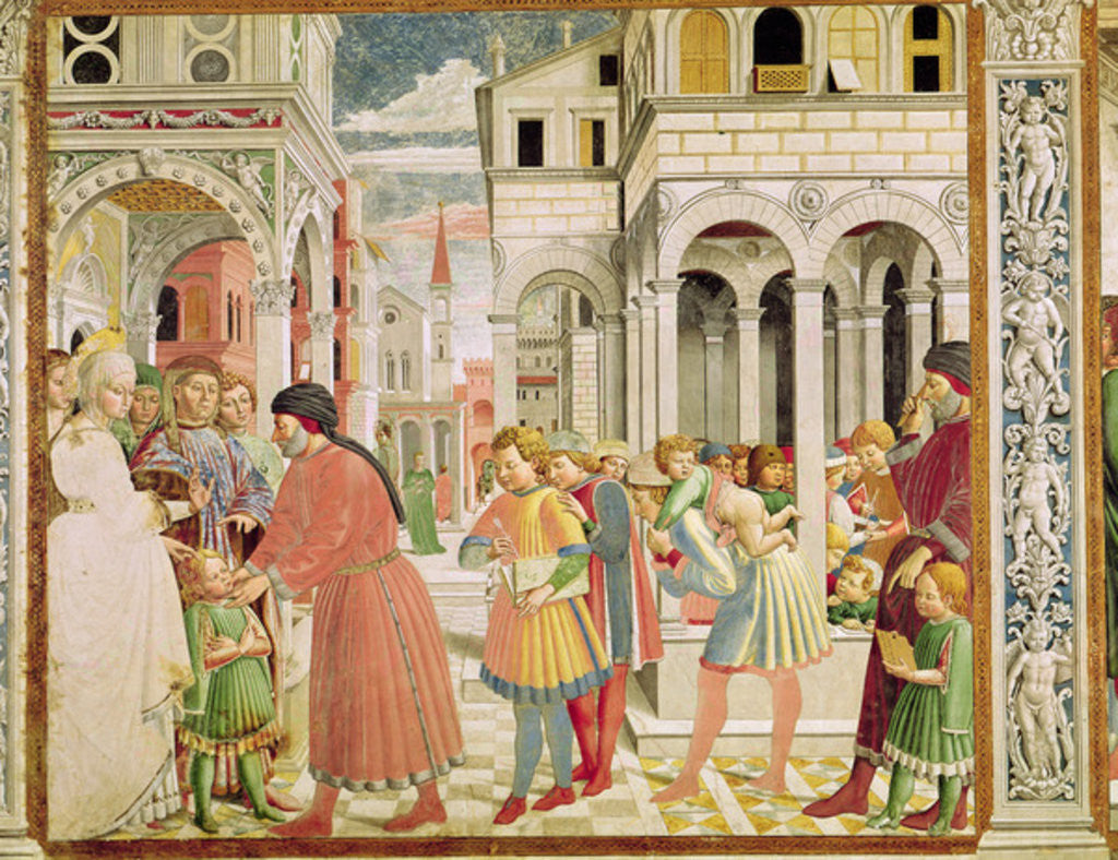 Detail of St. Augustine is led by his parents at the School of Tagaste by Benozzo di Lese di Sandro Gozzoli